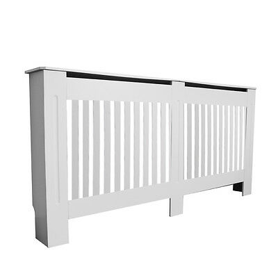 Painted Radiator Cover Modern Cabinet Vertical Style Slats White MDF Traditional