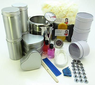 Soya wax luxurious candle making kit. Jug, thermometer, 12 tins