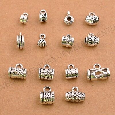 Lots 10/30 Pcs Tibetan Silver Tube Charm Connector Bail Jewelry Findings