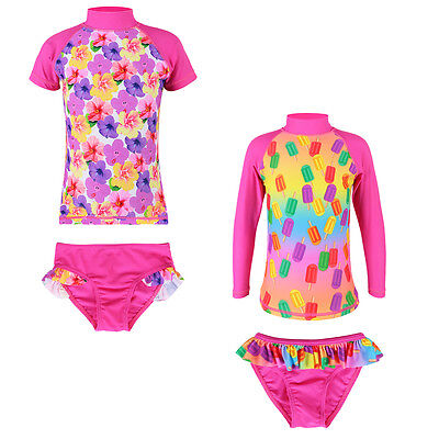 New Kids Girls Rashguard UPF 50+ UV Bikini Swimsuit Bathe Surf Swimwear 2-8Y