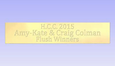 Diamond Cut Engraved Solid Brass Name Plate Plaque 100x20x1.5mm with or no holes