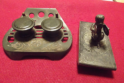 Antique Bronze Inkwell And Blotter Maker Marked