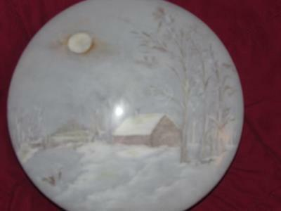 "Rare Antique Porcelain Extra Large Vanity Box 9"" Across Hand Painted Signed"