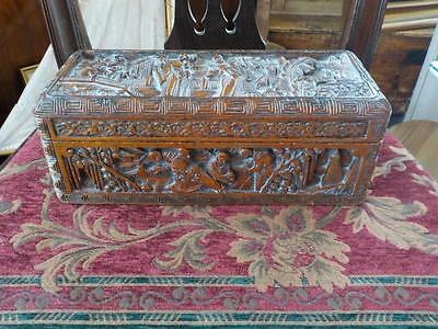 Camphor Antique Carved Wooden Box Jewellery Trinket