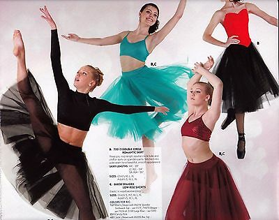 NWT doublecircle 3 layer long ballet skirt on trunks 7 colors chiffon tulle ch/L