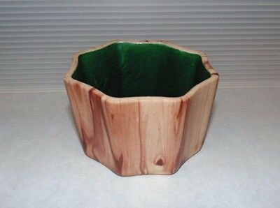 Mid Century Vintage Romco Rocky Mountain Pottery Octagon Planter Wood Grain W