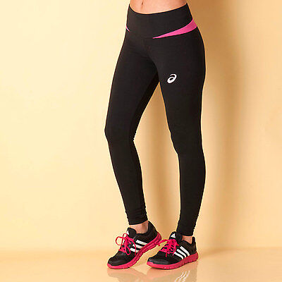 Womens Asics Womens Essentials Long Tight Pants in black pink - 6