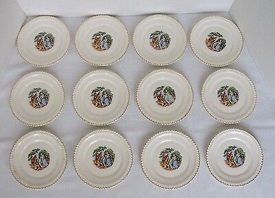 Vintage Harker Pottery - Lot of 12 Dessert/Bread Plates - Godey Courting Couple