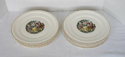 "Vtg. Harker Pottery - Lot of 12 Dinner Plates - 10 1/2"" - Godey Courting Couple"