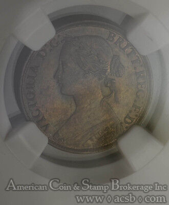 Great Britain 1 Farthing 1860 MS62 BN NGC KM#747.2 Toothed Border Victoria