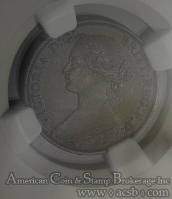 Great Britain 1 Farthing 1875 AU58 BN NGC KM#753 RARE Small Date 5 Berries