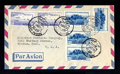 13705-SYRIA-AIRMAIL COVER ALEPPO to HAMDEN (usa-eeuu.) 1954.Syrie.Aerien.