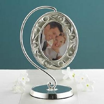"""Lenox Opal Innocence Hanging Picture Frame 3"""" x 5"""" Silver Plated"""