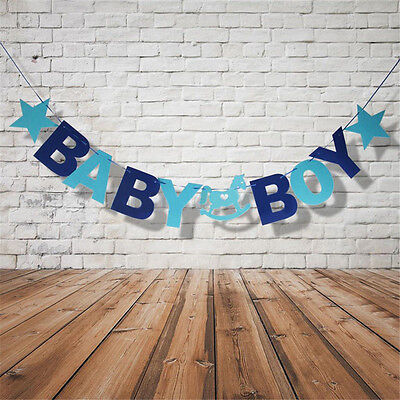Cute Baby Shower Baby Boy Bunting Garland Hanging Banner Flags CHRISTENING PARTY