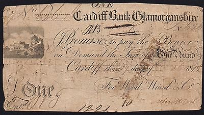 1818 CARDIFF BANK £1 NOTE - GLAMORGANSHIRE  * 626 * Outing 418e * RARE *