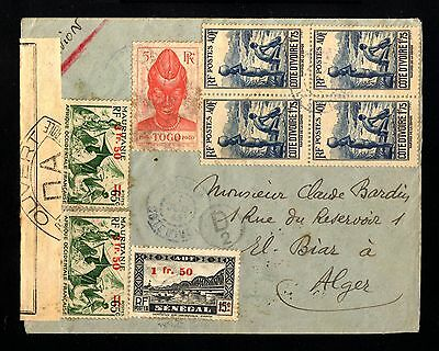 13569-R.COTE D´IVOIRE-AIRMAIL CENSOR COVER ABIDJAN to ALGER(algeria)1945.FRENCH