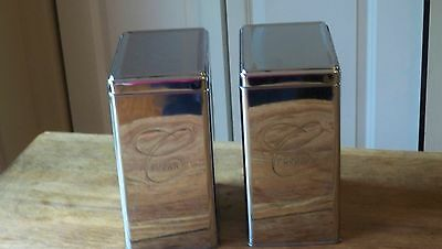 Vintage Chrome Ransburg Flour and Sugar Canisters