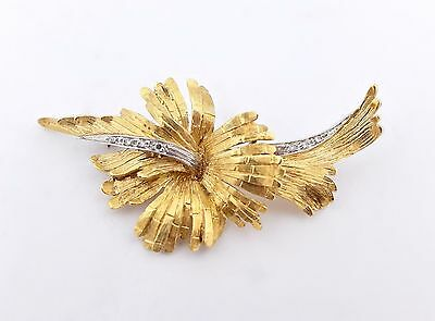 "Hibiscus Diamond & Solid 18k Yellow White Gold Floral Flower Pin Brooch 2"" 8.5g"