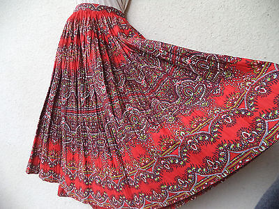 """Vintage 1950s CIRCLE SKIRT Pleated FULL Red Ethnic Print Rockabilly Swing L 31"""""""