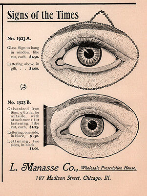 1902 a AD  MANASSE CO OPTICAL OPTICIAN SIGNS EYEBALLS