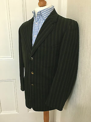 Ultra Rare True Vintage Daks Green Striped Wool Boating Blazer Jacket 38 Reg