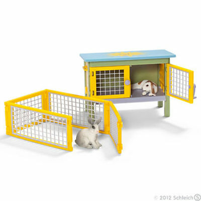 Schleich Worlds of Imagination 2 Bunny Rabbits Hutch & Pen Scenery Pack New