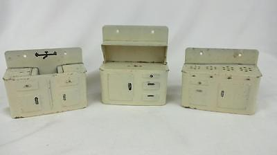 RARE 1940's Marx Metal Dollhouse  Kitchen Sink Cabinet Stove 1/12 scale