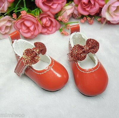 Monchhichi S Size MCC Plush Doll Glitter Butterfly Bow Mary Jane Shoes RED