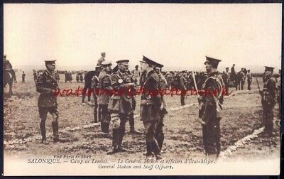 SALONICA, Camp de Lembet - General Mahon and Staff Officers. Postcard c1914/18