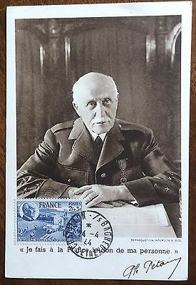 £££ France - n°607 - carte Maximum - Maréchal Pétain - 1944 - E1