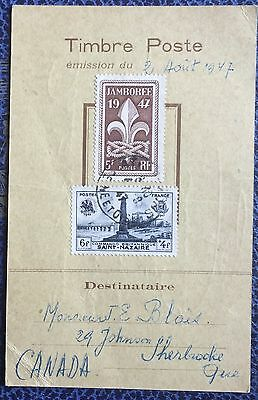 £££ France - carte maximum 1947 - Jamboree de la paix - pour le Canada