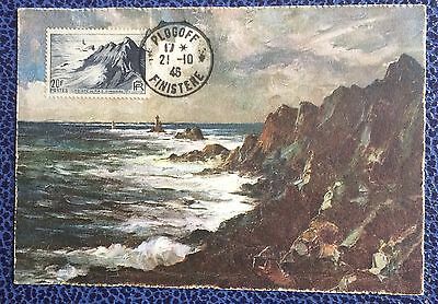 £££ France N°764 - carte maximum  1946 - Pointe du Raz Finistère - Plogoff