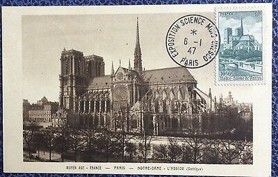 £££ France - carte maximum  1947 - exposition science Unesco - Notre Dame Paris