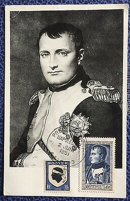 £££ France n° 896 carte maximum 1951 - Bonaparte - 1er jour Ajaccio