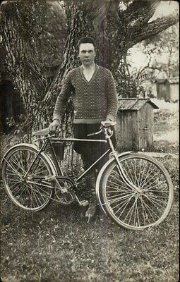 Young Man & His Bicycle Close-Up Details c1910 Real Photo Postcard