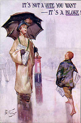 Suffragette Comic. It's Not A Vote You Want, It's A Bloke by Joseph Asher.