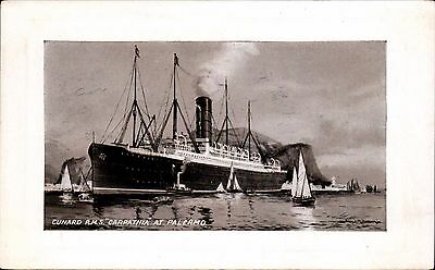 Titanic interest. Cunard RMS Carpathia at Palermo.