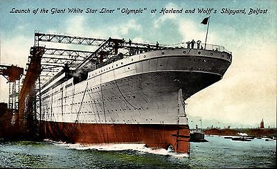 White Star Titanic Sister Ship RMS Olympic by Walton.. Launch at Belfast.