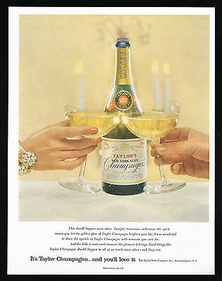 1956 Taylor's Champagne Bottle Label New York State Vintage Print Ad
