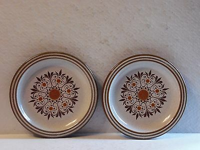 2 Brown & Rust Scroll Denby Hall Artisan England Stoneware Bread & Butter Plates