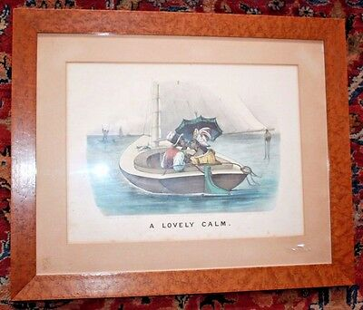 """Currier & Ives large print  """"A Lovely Calm """" Black Americana Couple in Boat"""