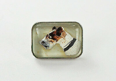 Vintage Button Jack Russell Terrier Dog Intaglio Reverse Painted Essex Crystal