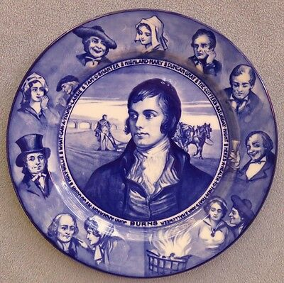 Vintage Royal Doulton ROBERT BURNS Portrait PLATE Blue Transferware England