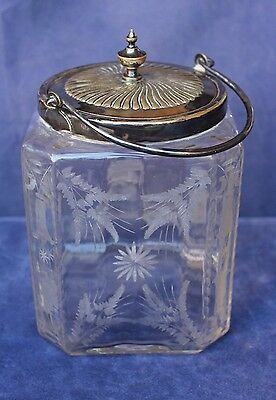 Antique Etched Glass Biscuit or Cracker Jar - Sheffield Silverplate - Briggs