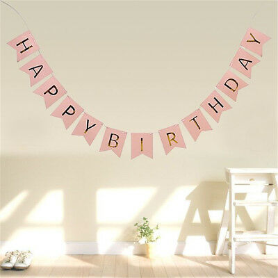 Pastel Happy Birthday Bunting Garland Gold Letters Party Hanging Banner Decor