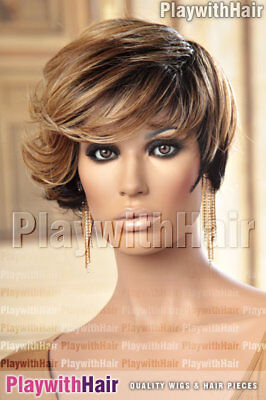 Asymmetrical Longer Front Bob Wig Brown Blonde STACKED
