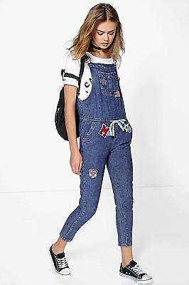 Boohoo Womens Suzie Denim Dungarees With Patches in Mid Blue size L