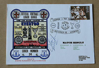 EVERTON V LIVERPOOL 1985 DAWN COVER SIGNED BY STEVE McMAHON