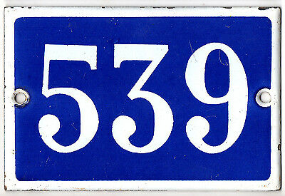 Old blue French house number 539 door gate plate plaque enamel steel metal sign