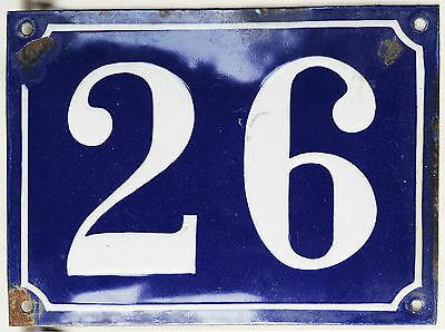 Old large blue French house number 26 door gate plaque enamel steel metal sign